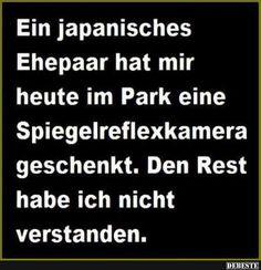 Ein japanisches Ehepaar hat mir heute im Park eine Spiegelreflexkamera..
