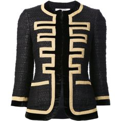 Givenchy 'Grain De Poudre' Jacket (2,627,105 KRW) ❤ liked on Polyvore featuring outerwear, jackets, black, givenchy, 3/4 sleeve jacket, givenchy jacket, embroidered jacket and straight jacket