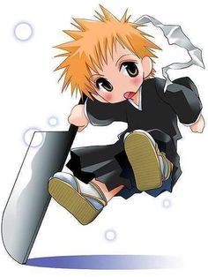 Ichigo from Bleach is so badass!  Seeing him as an adorable chibi makes me squee!