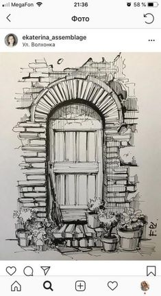 The door with micron pen – Art Sketches Landscape Pencil Drawings, Pencil Art Drawings, Doodle Drawings, Art Drawings Sketches, Drawing Drawing, Drawing Ideas, Drawing With Pen, Drawing Tips, House Drawing