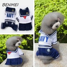 BENMEI Pet Dog Clothes For Small Dogs Spring Dog Coat Jackets Pug Teddy Coat Clothing Pajama Pet Products Navy Uniform #Affiliate