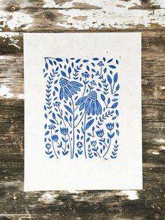 Blue Floral Print Linocut Print Scandinavian Print Lino