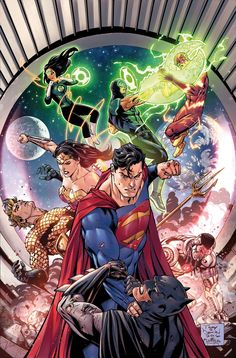 "(Justice League ""Rebirth"" Variant Covers) By: TONY S. DANIEL and SANDU FLOREA."
