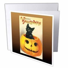 3dRose Vintage A Merry Halloween with a Black Cat sitting in a Jack O Lantern Pumpkin, Greeting Cards, 6 x 6 inches, set of 12, Multicolor