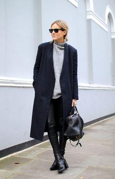 Coat | Tibi (now on sale – 40% off!) Bag | Gucci Jumper | ASOS Leather leggings | Alice & Olivia Boos | Senso