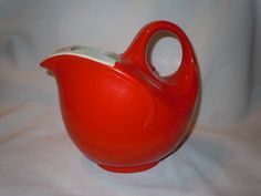 Hall China Loop Handle Pitcher RED American Line Art Deco  SOLD