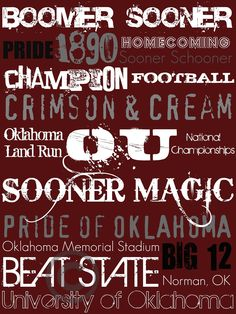 University of OKLAHOMA Subway Art Print by aworley on Etsy, $15.00