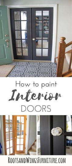Painting Interior Doors with General Finishes Milk Paint Paint your interior doors for a pop of color or just something different. Black french doors are all the rage right now, and this is an easy way to make a statement. General Finishes Milk Paint is Painted Interior Doors, Black Interior Doors, Painted Doors, Interior Paint, Interior Decorating, Wood Doors, Paint Doors Black, Interior Door Colors, Decorating Ideas