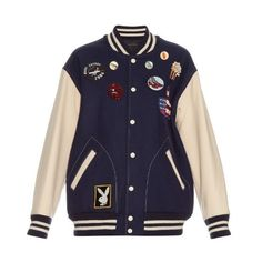 Marc Jacobs Bi-colour embellished varsity jacket ($1,718) ❤ liked on Polyvore featuring outerwear, jackets, navy multi, college jacket, wool-blend jacket, navy blue varsity jacket, blue varsity jacket and blue jackets