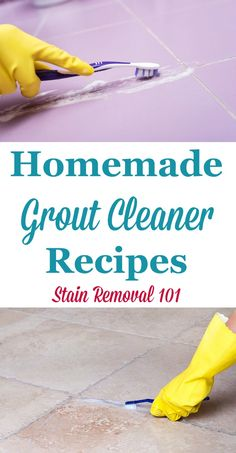 Two recipes for homemade grout cleaners to keep your grout sparkling, including a gentler recipe and one for stubborn stains. Deep Cleaning Tips, House Cleaning Tips, Spring Cleaning, Cleaning Hacks, Cleaning Solutions, Cleaning Supplies, Homemade Grout Cleaner, Cleaners Homemade, Cleaning Painted Walls