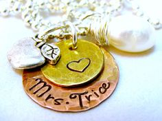 Teacher Gift Teacher Apple Hand Stamped Personalized Necklace Monogram Techer Necklace. $27.00, via Etsy.