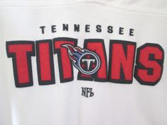 NFL tennessee titans football sweatshirt v neck pullover jersey white red mens l