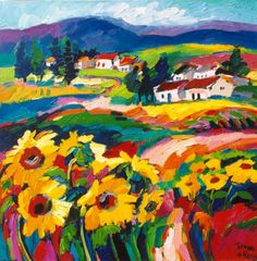 Sunflowers of Tuscany Landscape Art, Landscape Paintings, Claude Monet, Tuscan Art, Arte Country, Bright Art, Oil Painting Texture, South African Artists, Sunflower Art
