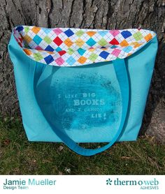 Amy Barickman's Crossroads Denim can be used for home decor, garments, accessories and more! See great ideas on our Crossroads blog tour like the deco foil tote from Therm-O-Web!