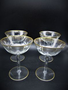 Vintage Cocktail Glasses Etched Atomic Stars Gold Bands Mid Century Set of 4 Crystal Glassware, Glass Ceramic, Gold Bands, Cocktails, Mid Century, Crystals, Stars, Glasses, Vintage