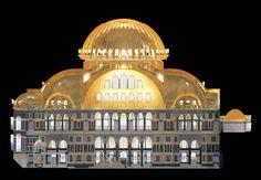 CAD-Modell der Hagia Sophia, Längsschnitt durch den Innenraum