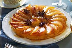 Pear and star anise tarte tatin with fleur de sel caramel