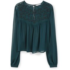 Mango Beaded chiffon blouse ($72) ❤ liked on Polyvore featuring tops, blouses, green, women, round top, blue chiffon blouse, blue blouse, blue long sleeve blouse and embroidered blouse