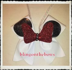minnie mouse rearview mirror/keychain CHEER bow by blingonthebowz, $7.00