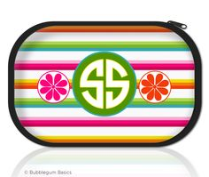Multi Color Stripes #Monogram #Makeup #Bag...... Our Makeup Bag is made of a printable fabric on top of soft neoprene.  Our unique printing process embeds the ink into the fabric to provide you with a product that is made to last without fading..... http://www.bubblegumbasics.com/multi-color-stripes-monogram-makeup-bag.html
