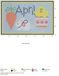 April X-stitch sign Plastic Canvas Coasters, Plastic Canvas Tissue Boxes, Plastic Canvas Crafts, Plastic Canvas Patterns, Cross Stitch Designs, Cross Stitch Patterns, Beaded Banners, Canvas Signs, Months In A Year
