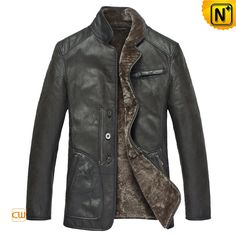 CWMALLS® Milwaukee Fur Lined Sheepskin Coat CW819466 - Classic fur lined sheepskin coat for men, made up of windproof sheepskin leather shell, soft lamb fur lining and mink fur collar, keeping you cozy and good looking in chilly days, it is also a nice gift for 2017 New Year which can be made to order.