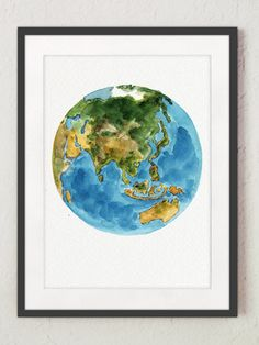 Planet Earth Colors Abstract Watercolor by ColorWatercolor on Etsy