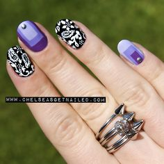 getnail-d:  Paisley + Colorblock Nails - see the post here for all the colors used!