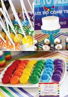 oreos covered with rainbow colored chocolate- easy dessert idea for baptism party