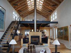 Smart Home Design, Tiny House Design, Cool House Designs, Pole Barn House Plans, Pole Barn Homes, Metal Barn Homes, Barn Plans, Loft Interior Design, Loft Design