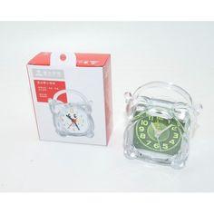 Будильник пластиковый прозрачный с зелёным экраном с ручкой