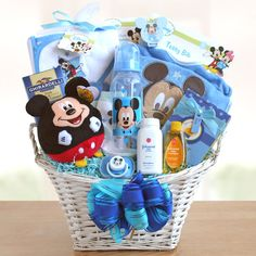 Shop the Best in adorable baby baskets and send baby gift baskets and baby gifts for baby showers and new baby arrivals. Free embroidery and Satisfaction! Baby Boy Gift Baskets, Baby Shower Gift Basket, Baby Shower Gifts For Boys, Baby Boy Gifts, Baby Boy Shower, Baby Hamper Ideas Diy, Basket Ideas, Baby Mickey, Mickey Mouse Baby Shower