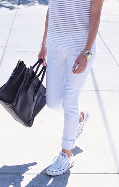 All white with converse sneakers