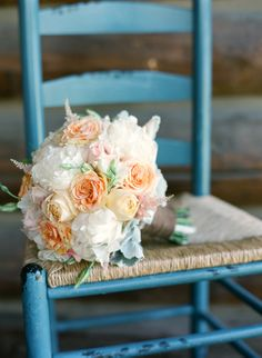 white, peach and pink rose and peony bouquet by Love This Day Events