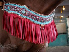 Horse Red Blue Green Aqua Teal Turquoise Light Oil Western Fringe Breastcollar
