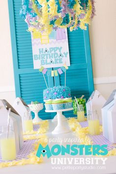 Monsters Inc/Monsters University party: love the festooning-edged placemats and chandelier