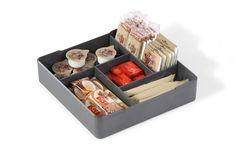 Coffee Point Case - High quality square serving aid that fits perfectly into the Coffee Point Box. Made from premium plastic, the deep tray features compartments for the organisation and storage of tea bags, coffee pods, sugar sachet, stirring sticks, milk capsules, confectionery and much more. The middle compartment also allows for the placement of the Coffee Point Bin.