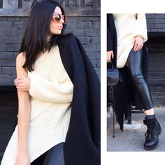 White knit #dress with one sleeve!  #dress #streetstyle #streetwear