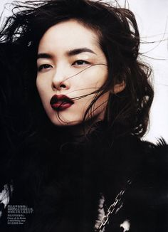 With dark lips. Fei Fei Sun photographed by Josh Olins for Vogue China November Dark Lipstick Makeup, Best Lipstick Color, Best Lipsticks, Lipstick Colors, Maroon Lipstick, Fall Lipstick, Purple Lipstick, Lip Colour, Asian Makeup