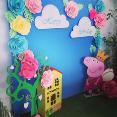 57 ideas for party fiesta peppa pig Peppa Pig Birthday Decorations, Pig Birthday Cakes, 3rd Birthday Parties, Birthday Party Decorations, 2nd Birthday, Cumple Peppa Pig, Birthday Backdrop, Pig Party, Party Time
