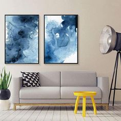 Blue Abstract Watercolor Print Set Of Abstract Watercolor, Modern Art Set, Scandinavian Art , Blue Contemporary Art Set, Modern art set Blue Abstract, Abstract Watercolor, Interior Design Tips, Interior Decorating, Bedroom Wall Art Above Bed, Fine Art Paper, Picture Frames, Wall Decor, Art Prints