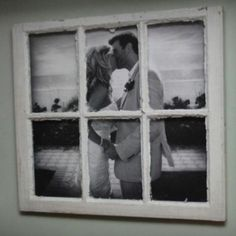 Old window frame turned into a picture frame
