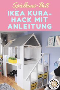 Playhouse DIY: IKEA KURA hack for the children& room to build .-Spielhaus DIY: IKEA KURA Hack fürs Kinderzimmer zum nachbauen inklusive Anleitu… Playhouse DIY: IKEA KURA hack for the children& room to build including instructions! Cama Ikea Kura, Trofast Ikea, Kura Bed Hack, Ikea Kura Hack, Ikea Hacks, Diy Hacks, Ikea Loft Bed Hack, Ikea Hack Kids, Bedroom Storage Ideas For Clothes