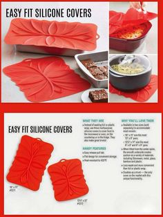 No Tin Foil or Plastic Wrap! Silicone covers double as trivet!
