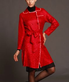 Love this Red Belted Trench Coat - Women & Plus by Jerry T Fashion on #zulily! #zulilyfinds
