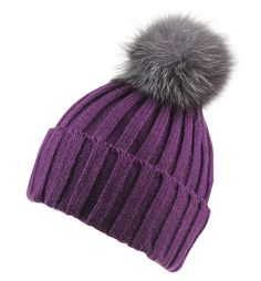 73c9a141bf8 Connectyle Womens Girls Winter Knit Fur Hat Cuff Beanie Hat Large Fox Fur  Pom Pom Beanie