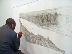 Autistic artist Stephen Wiltshire took a twenty-minute helicopter ride over Manhattan. Then he sketched the entire skyline from memory. Every building was correct and drawn to scale! He's also done panoramic memory drawings of Tokyo, Rome, Hong Kong, Frankfurt, Madrid, Dubai, Jerusalem and London. How mindblowingly incredible.