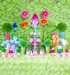 dreamworks trolls party dessert table