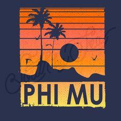 Phi Mu | Tropical Tank Design | Sunset Tee Shirt Design | South by Sea | Greek Tee Shirts | Greek Tank Tops | Custom Apparel Design | Custom Greek Apparel | Sorority Tee Shirts | Sorority Tanks | Sorority Shirt Designs