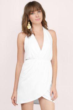 7f9f6ccb59f4 Analeigh Halter Tulip Dress at Tobi.com #shoptobi White Wrap Dress, Tulip  Dress